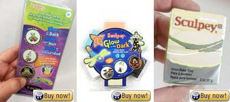 sculpey glow in the dark - 3 different packages