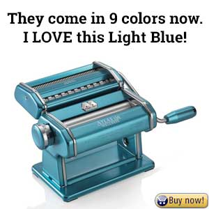 Gorgeous light blue Atlas 150 pasta machine - click for more reviews and current sale pricing on Amazon