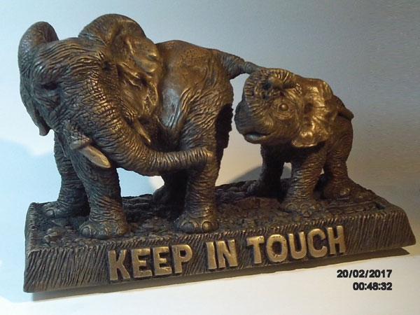 Elephant Sculpture of a mother and her calf 'Keep in Touch' by Kenneth Howard Weston made from molded bronze. Original piece was polymer clay.
