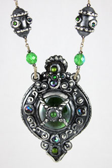 Emerald and silver polyclay necklace