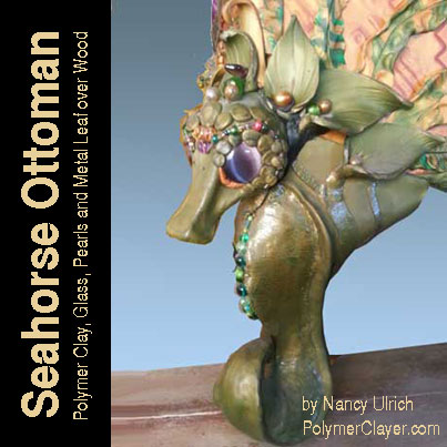 Seahorse furniture leg made with Premo Sculpey, pearls, chatoyant glass, silica glass beads, metal leaf over a wood armature.
