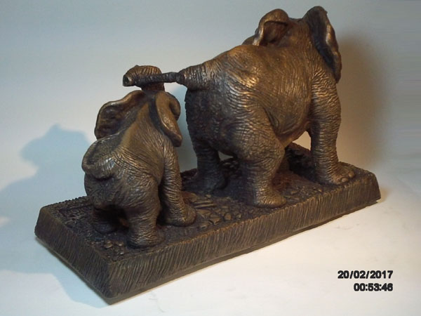 Back view of Kenneth Weston's elephant mother and calf sculpture